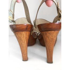 Michael Kors Shoes - MICHAEL KORS WOOD PLATFORM CLEAR GOLD HEELS 9.5